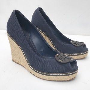 TORY BURCH wedge Cerise espadrille Shoes 9 blue
